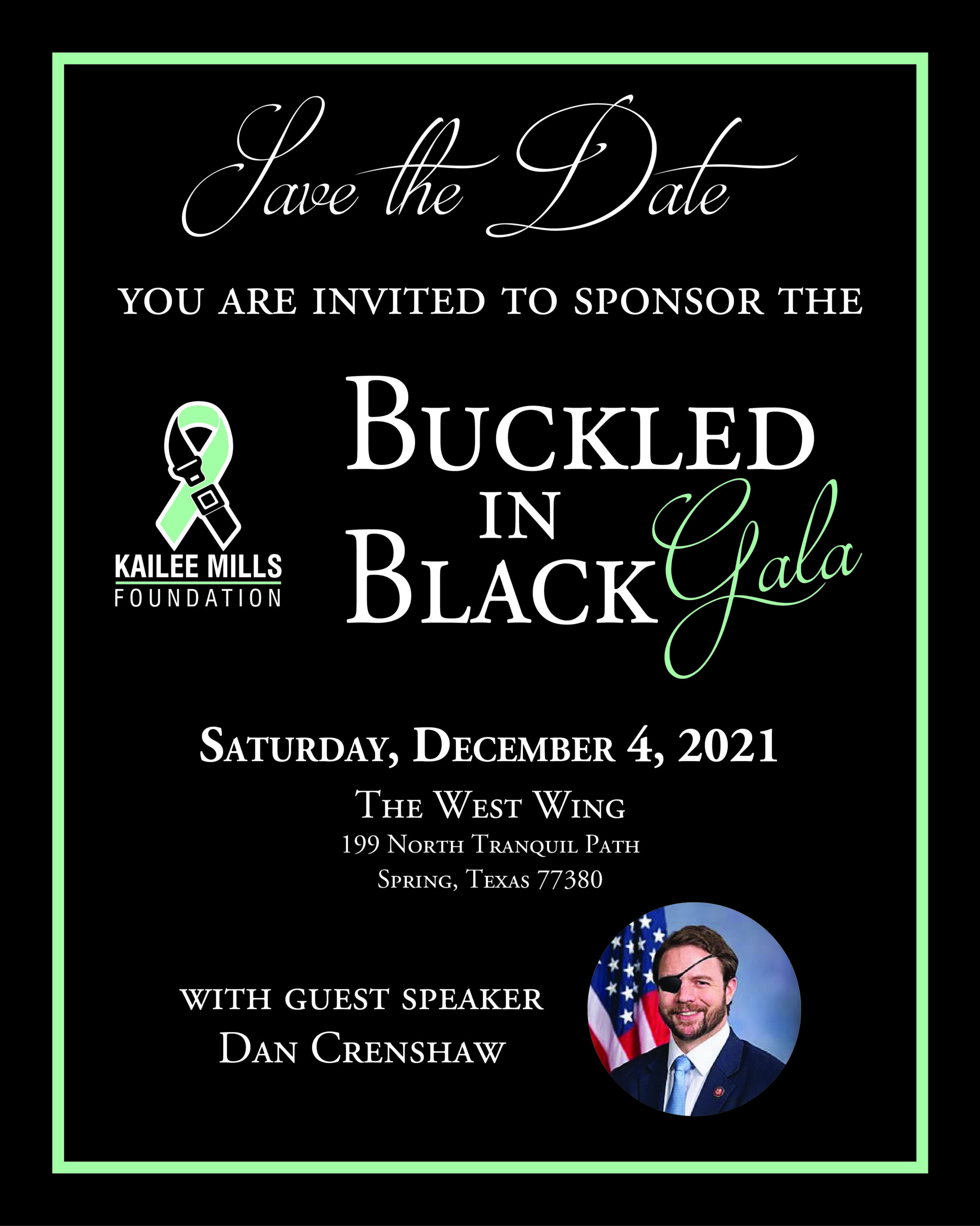kailee mills foundation's buckled in black gala with guest speaker dan crenshaw